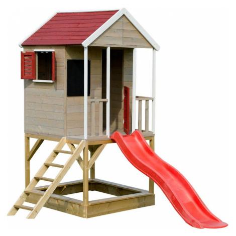 Dřevěný dětský domeček Veranda 280 cm se skluzavkou Marimex