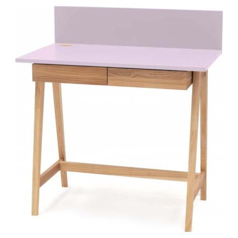 Růžový psací stůl s podnožím z jasanového dřeva Ragaba Luka, délka 85 cm
