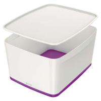 Bílo-fialový úložný box s víkem Leitz Office, objem 18 l