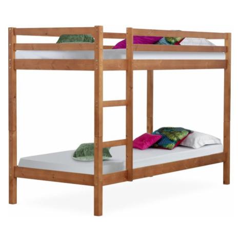 Dětská patrová postel, borovicové dřevo světlehnědá, VERSO Tempo Kondela