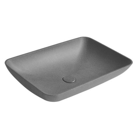 SAPHO INFRANE betonové umyvadlo včetně výpusti, 57x37 cm, černý granit AR464
