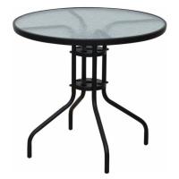Jídelní stůl černá ocel a temperované sklo typ 2 TK3202