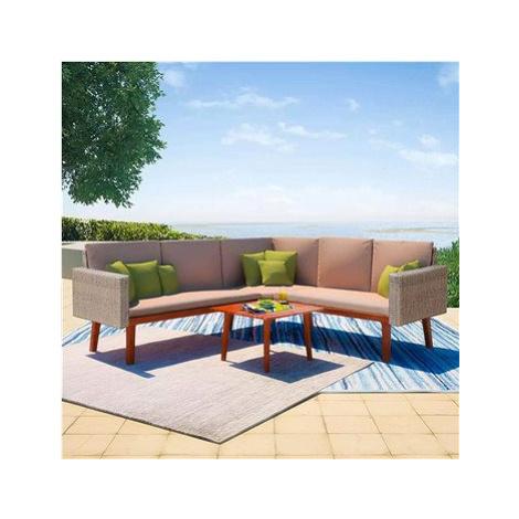 4dílná zahradní sedací souprava s poduškami polyratan šedá 43133 43133 SHUMEE