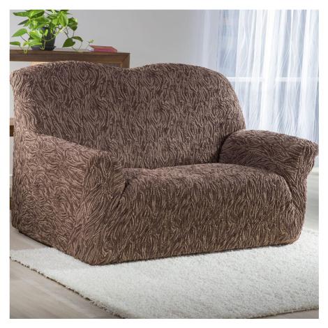 Super strečové potahy 3D FUSTA hnědé sedačka s otomanem vpravo (š. 210 - 270 cm)