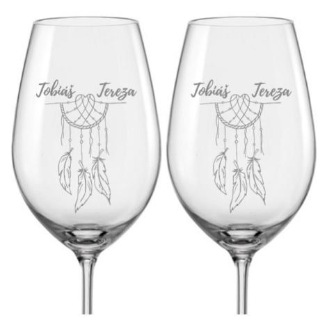 Svatební skleničky na víno Lapač snů s datem svatby na dýnku, 2 ks