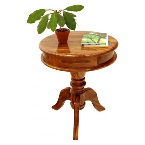 indickynabytek.cz - Kulatý stolek Jali 50x60x50 z indického masivu palisandr / sheesham Two tone