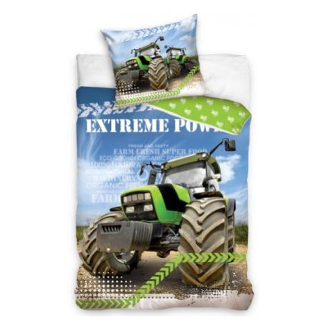 TipTrade Bavlněné povlečení 140x200 + 70x90 cm - Zelený traktor