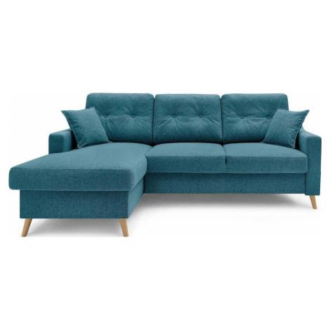 Tyrkysově modrá rozkládací rohová pohovka s úložným prostorem Bobochic Paris Sweden, levý roh, 2