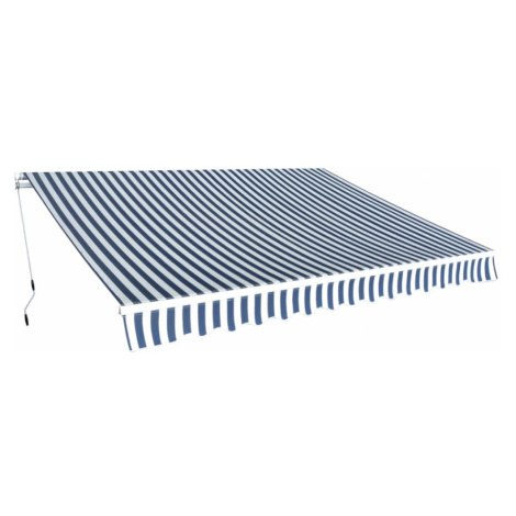 Ručně zatahovací markýza modrá / bílá Dekorhome 600 cm