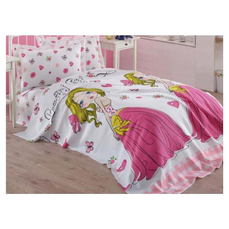 Růžový dětský bavlněný přehoz přes postel Eponj Home Princess, 160 x 235 cm