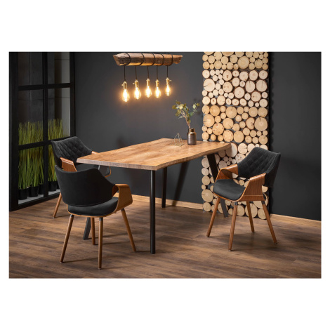 Rozkládací jídelní stůl DICKSON, dub/černá